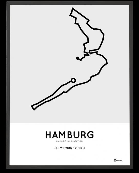 2018 Hamburg halbmarathon streckeplan poster