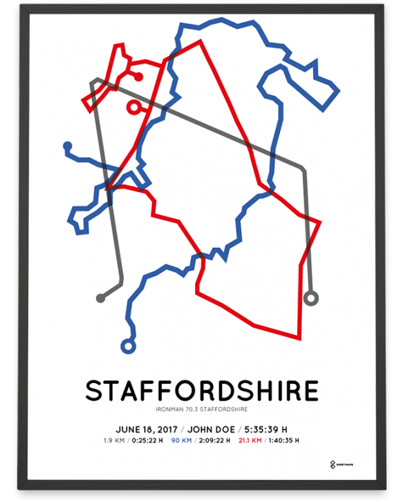 2018 Ironman 70.3 Staffordshire course poster color