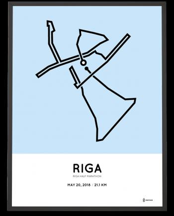 2018 Riga half marathon route map poster