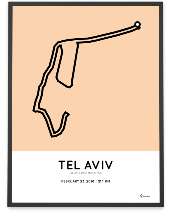 2018 Tel Aviv half marathon course poster