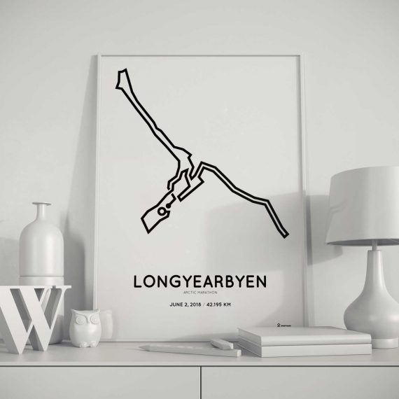 2018 Arctic marathon Svalbard Spitsberen route poster