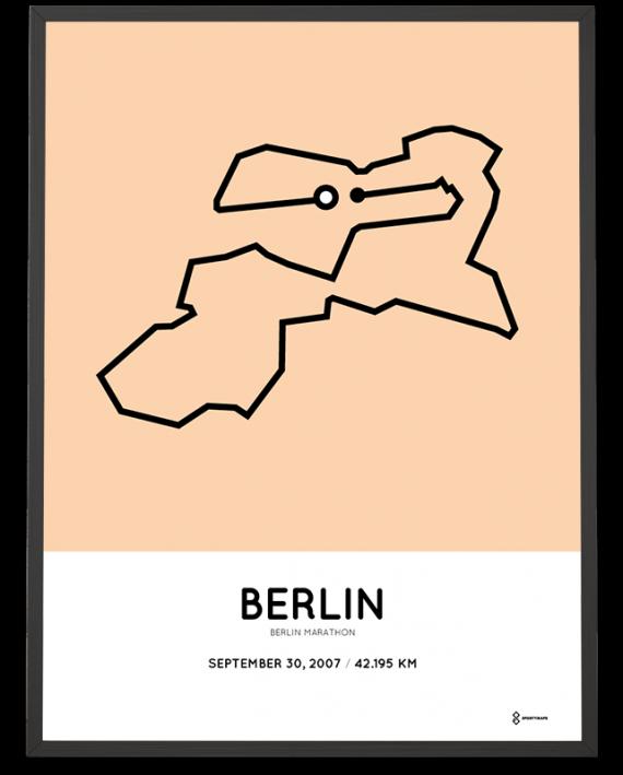 2007 Berlin marathon strecke map sportymaps poster