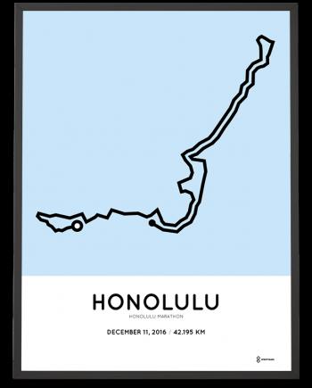 2016 honolulu marathon sportymaps route poster
