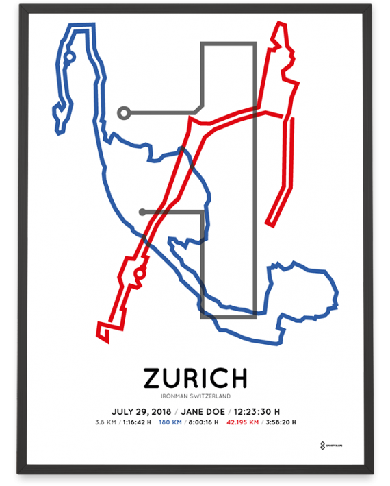 2018 Ironman Switzerland Zurich course sportymaps poster in color