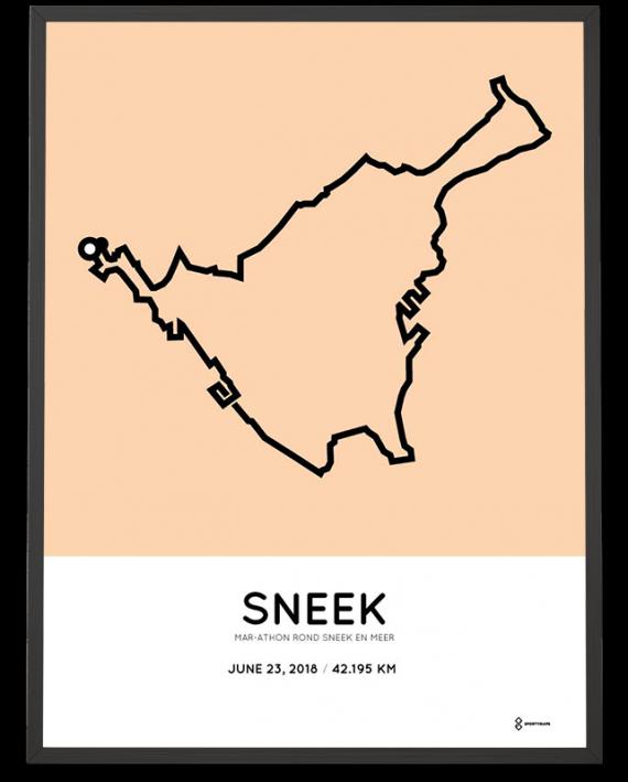 2018 Sneek marathon route poster sportymaps