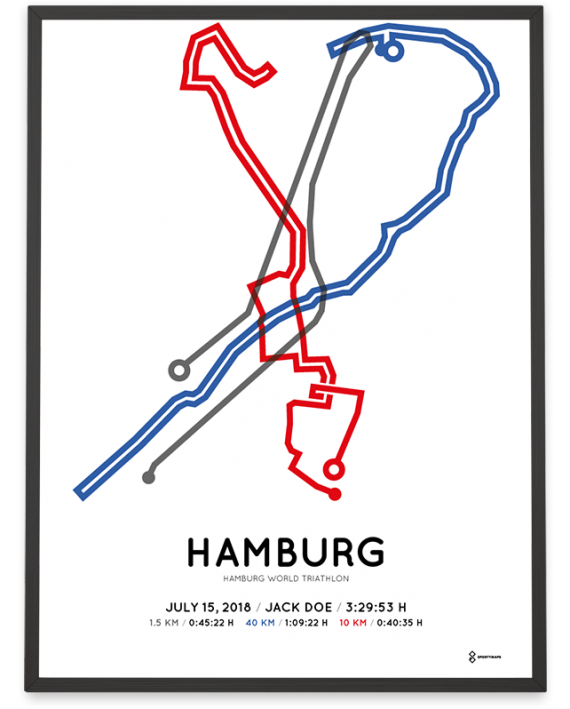 2018 hamburg world triathlon strecke map print