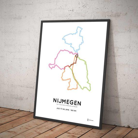2018 Nijmeegse 4daages 160km wandelroute poster