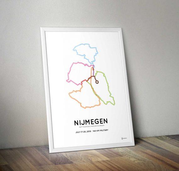 2018 Nijmeegse 4daagse 160km militairen route poster