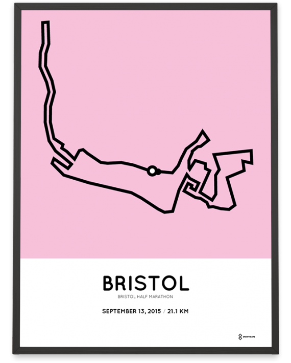 2015 Bristol half marathon course sportymaps poster