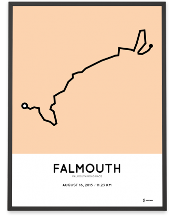 2015 Falmouth road race route sportymaps poster