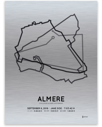 2018 Challenge almere-amsterdam middle distance aluminum course print