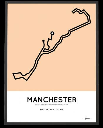 2018 Great manchester Run half marathon route poster