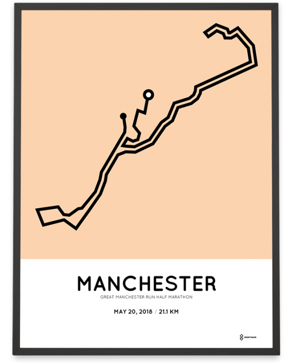 2018 Great manchester Run half marathon route poster