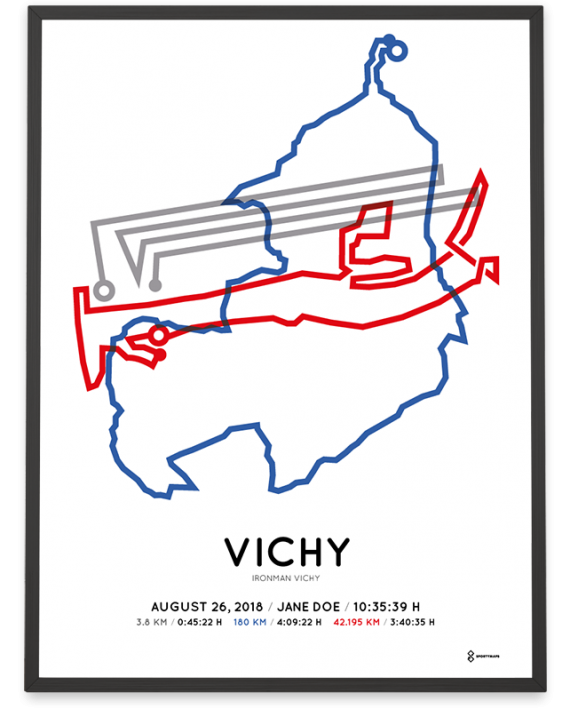 2018 Ironman Vichy course poster in color