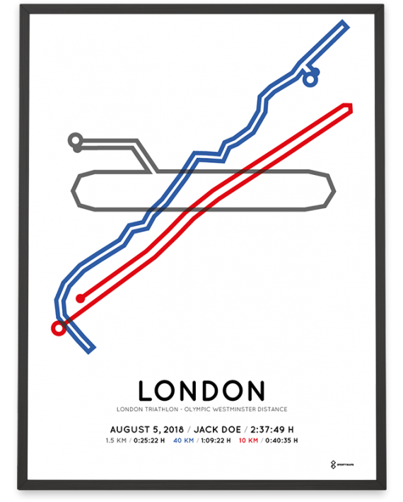 2018 London triathlon Olympic Westminster distance course print