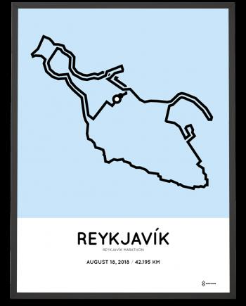 2018 Reykjavik marathon sportymaps course map poster