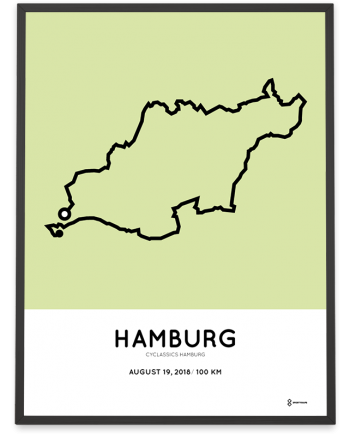 2018 Cyclassics hamburg 100km strecke map print