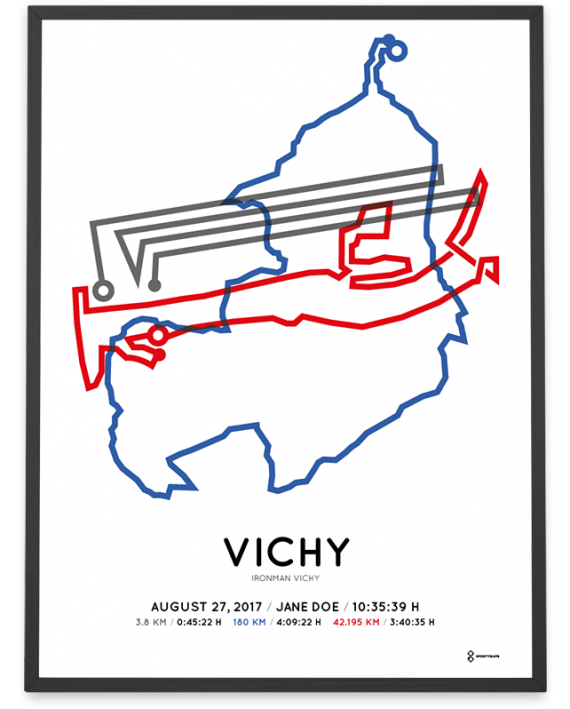 2017 Ironman Vichy route map poster