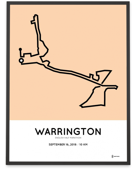 2018 Warrington English half marathon 10km course print