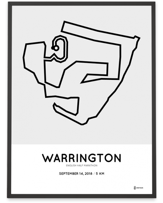 2018 Warrington English half marathon 5km route map poster