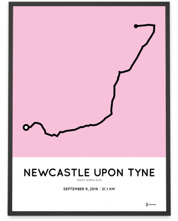 2018 Great North Run course poster sportymaps