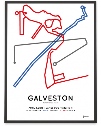 2018 Ironman 70.3 Galveston Texas course print