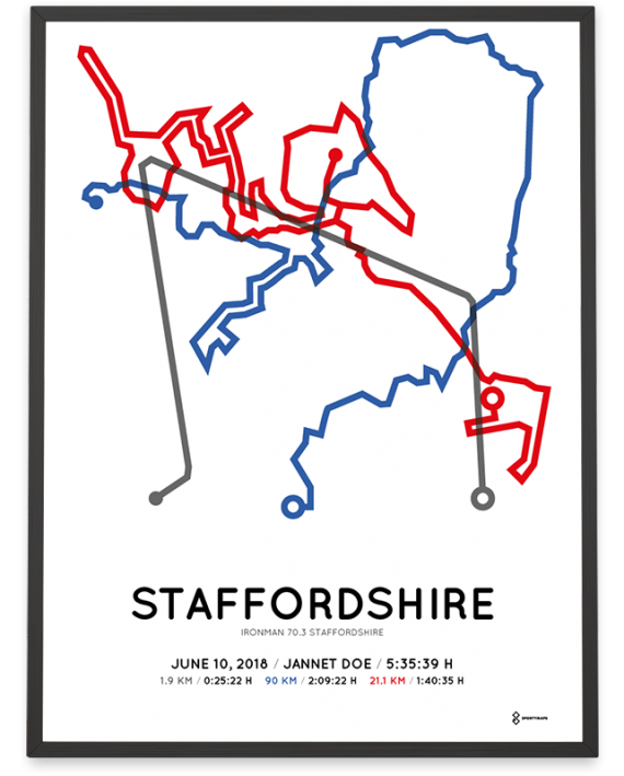 2018 Ironman 70.3 Staffordshire course poster