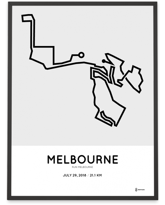2018 Run Melbourne half marathon sportymaps course poster
