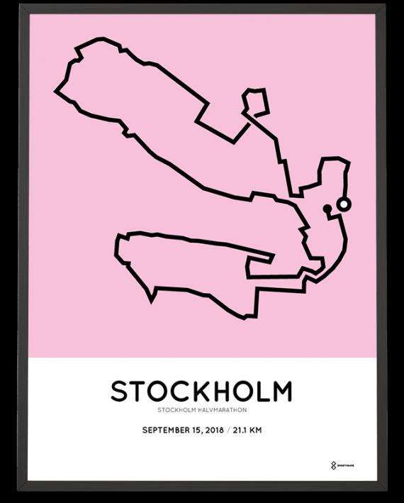 2018 Stockholm halvmarathon sportymaps course poster