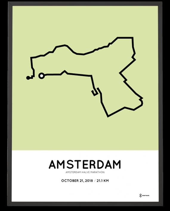 2018 Amsterdam halve marathon route sportymaps poster