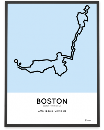 2018 Boston marathon UK route map poster