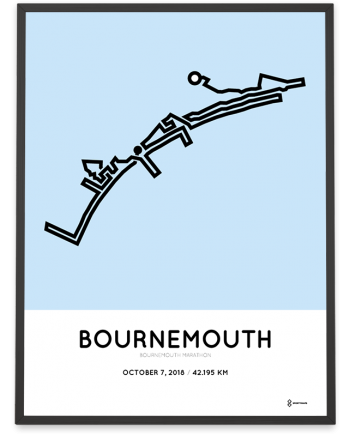 2018 Bournemouth marathon map route poster