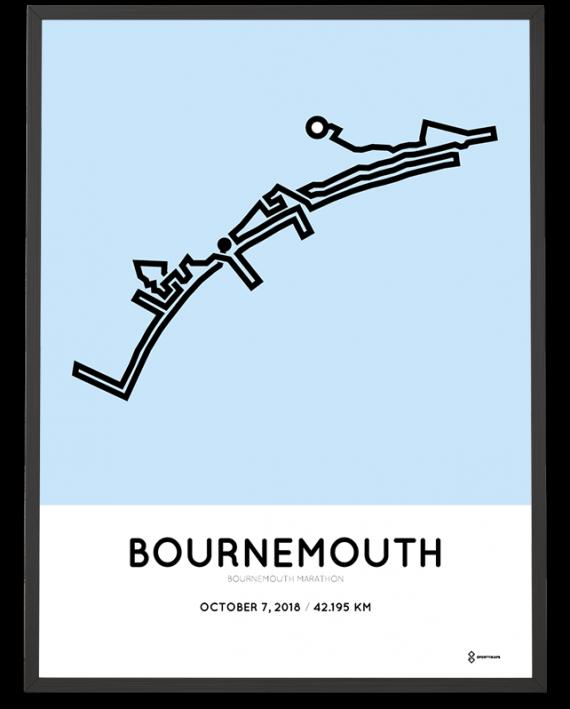 2018 Bournemouth marathon map route poster
