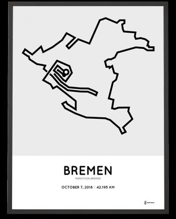 2018 Bremen marathon strecke map sportymaps print