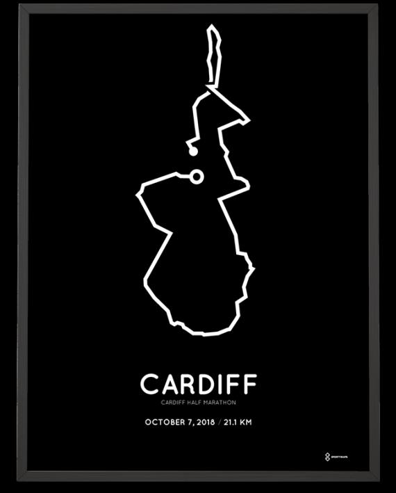 2018 Cardiff half marathon route map poster