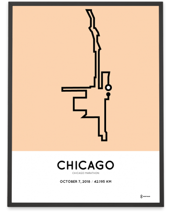 2018 Chicago marathon course sportymaps poster