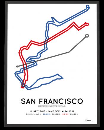 2015 Escape from Alcatraz triathlon course poster
