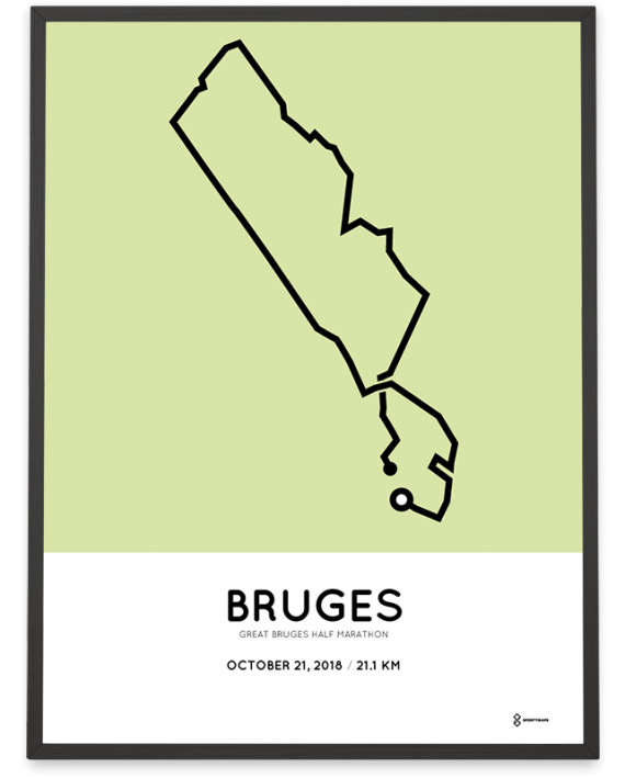 2018 Great Bruges half marathon parcours print