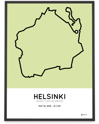 2018 Helsinki city run half marathon course print