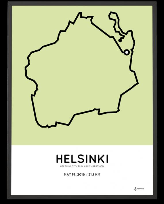 2018 Helsinki city run half marathon course print