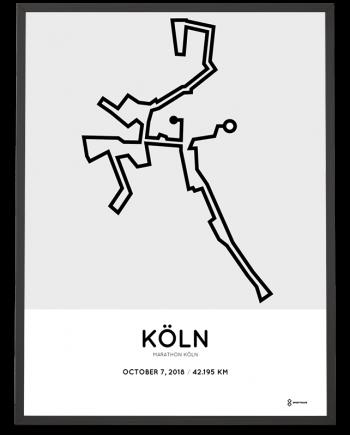 2018 Koeln marathon strecke map poster