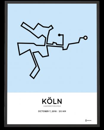 2018 Koeln half marathon strecke map poster