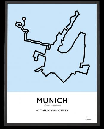 2018 Muenchen marathon strecke map poster