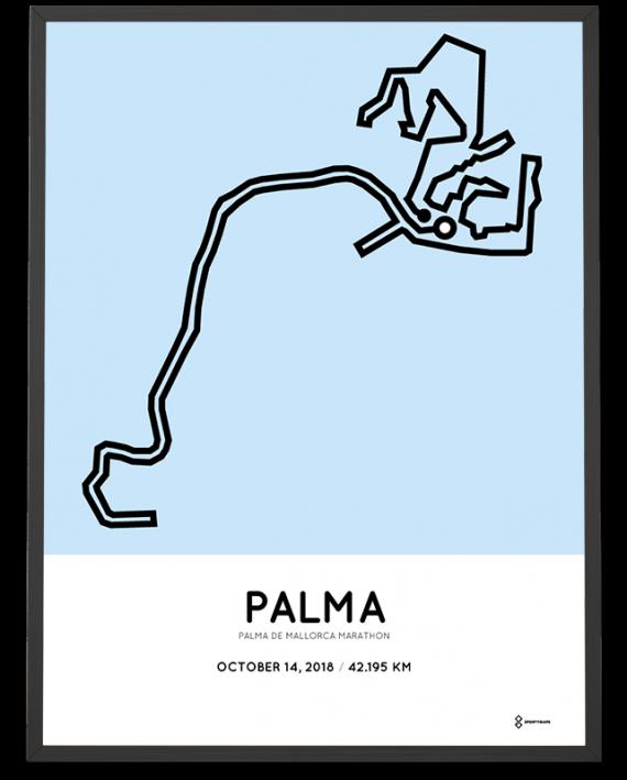 2018 Palma de Mallorca marathon course poster