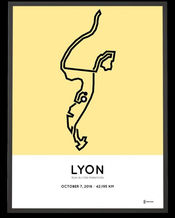 2018 Run in Lyon marathon course print