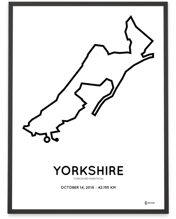 2018 Yorkshire marathon route map sportymaps poster