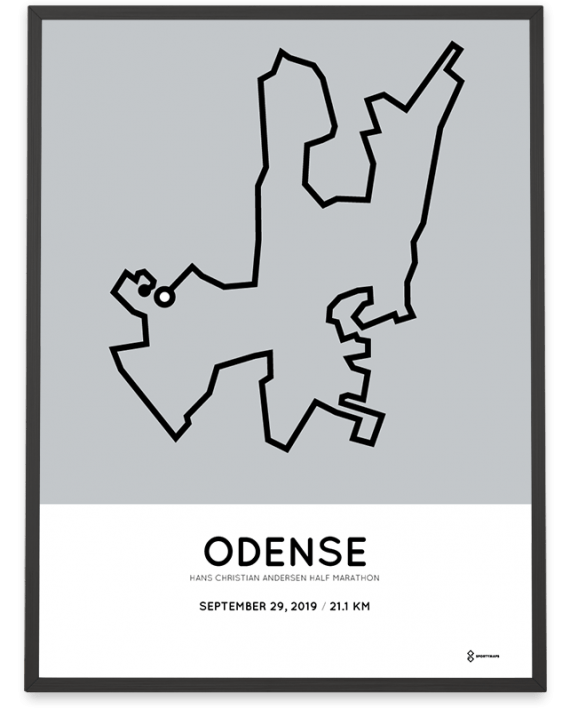 2019 Odense half marathon coursemap print