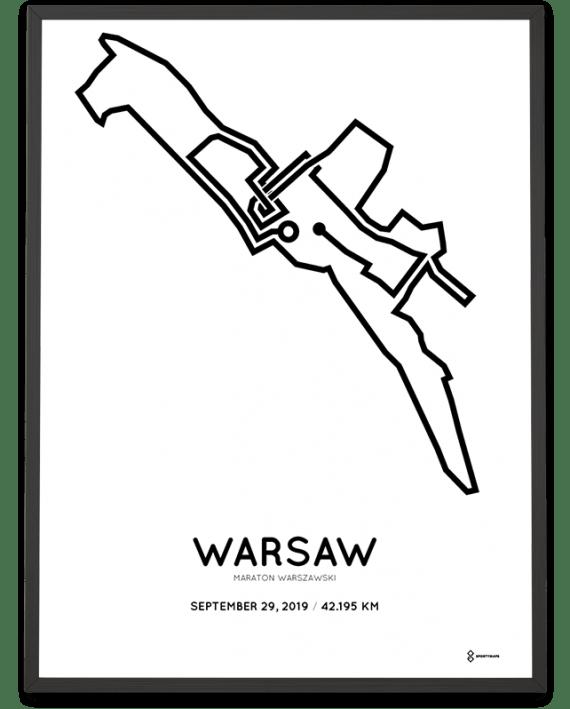 2019 Warsaw marathon course poster sportymaps
