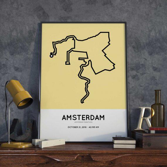 2018 Amsterdam marathon parcours sportymaps print
