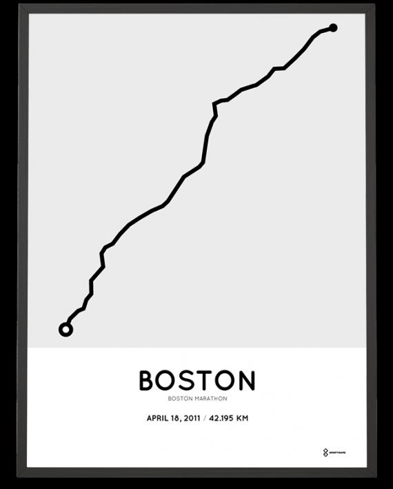 2011 Boston marathon sportymaps course poster